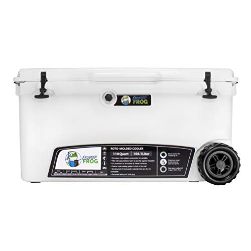 Frosted Frog White 110 Quart Ice Chest Heavy Duty High Performance Roto-Molded Commercial Grade Insulated Cooler with Wheels
