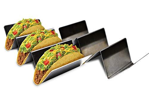 2er-Pack – Taco-Halter-Ständer von Love Tacos Mucho, Edelstahl, für bis zu 3 Tortillas, ofen- und spülmaschinenfest, mexikanisches Lebensmittelzubehör, Lebensmitteltablett für Partys, Muschel-Maker