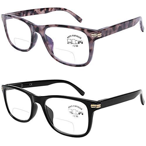 DOOViC Bifocal Reading Glasses Set of 2 Blue Light Blocking Black/Tortoise Spring Hinge Quality Readers for Men and Women 2.00 Strength