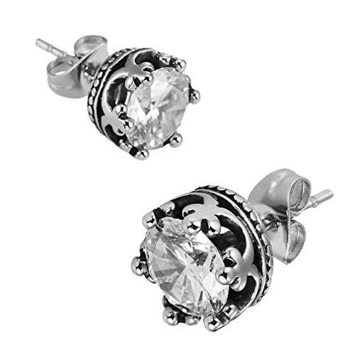 Acero inoxidable Pendientes de botón real de la vendimia de la corona de los hombres de plata Claro circonio cúbico 10 mm