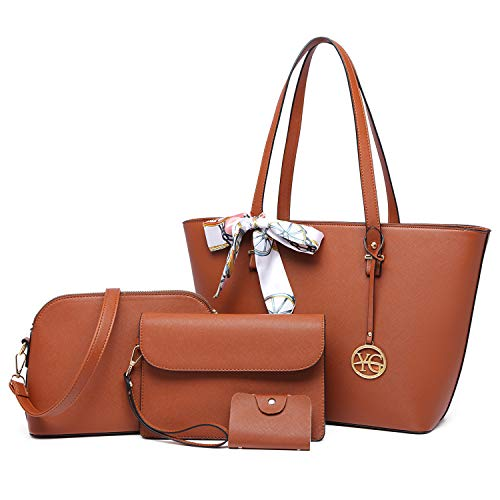 YeumouG Bolsos Mujer Bolsos Mujer Bandolera Bolsos Mujer Grande Cuero PU Bolso Señoras Shopper Totes para Escuela Compras Viaje Oficina 4pcs (Marrón)