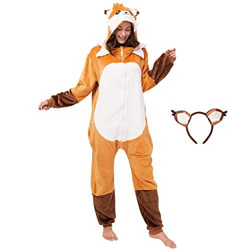 corimori (Faye der Fuchs Damen & Herren Onesie Jumpsuit Kostüm Gr. 160 - 170cm, Orange-Braun