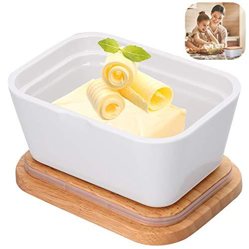 Masło z pokrywką, 250 g odporne na wysokie temperatury duże naczynie na masło porcelanowa drewniana pokrywka utrzymująca hermetyczny bambusowy pokrowiec na pojemnik na blat lodówka kuchnia przechowywanie