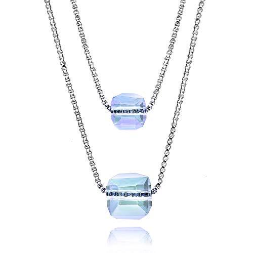 TSUKIYO ネックレス レディース チェーン ダブルスクエアオーロラキューブ 水晶 パワーストーン (ウォーターブルー)