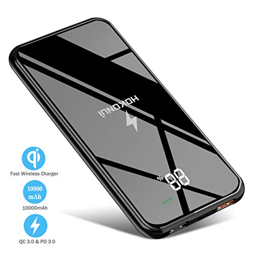 Wireless Portable Charger, Hokonui Wireless Power Bank 10000 mAh with LCD Screen, 10W Fast Wireless Battery Pack 4 Outputs & Dual Inputs, QC 3.0 & PD 3.0 for Cell Phone, iPhone, iPad ,Samsung and More