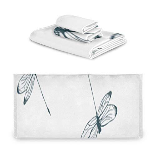 Set de toallas de viaje Dragonfly Conjuntos de toallas de insectos coloridos y encantadores para niñas Extremadamente absorbente, hermoso Set de toallas de 3 piezas 1 toalla de baño, 1 toalla de man