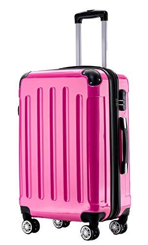 BEIBYE Zwillingsrollen 2048 Hartschale Trolley Koffer Reisekoffer Taschen Gepäck in M-L-XL-Set (Pink, XL)