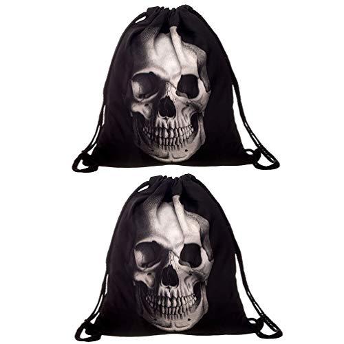 Hakka Lot de 2 sacs à dos à cordon Imprimé 3D