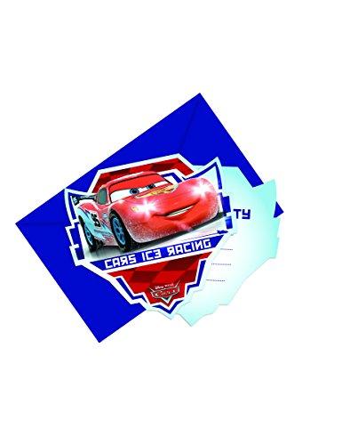 6 Cartes d'invitation avec enveloppes Cars Ice Racers - taille - Taille Unique - 237120