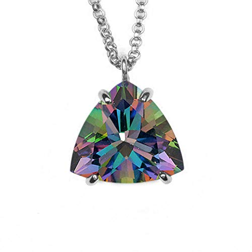 JewelryGift Natural Mystic Quartz Pendant with Chain Trillion Faceted Gemstone Multi Color 925 Sterling-silver Unique jewelry Necklace for Mother