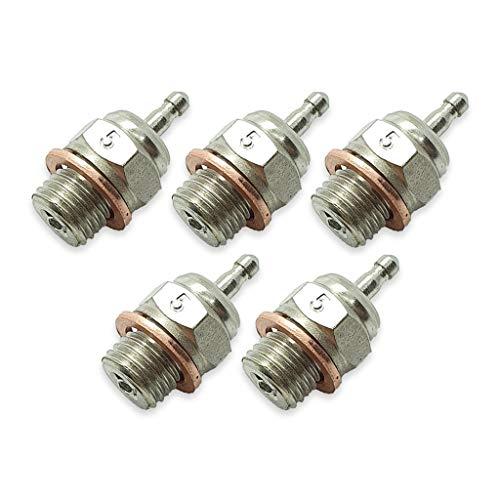 TCA Racing Standard Glow Plug / BUJIAS RC Short Thread T5 - 1/8-1/10 Scale RC Cars, GO, KYOSHO, OS, Thunder Tiger Engines - 5 Pcs