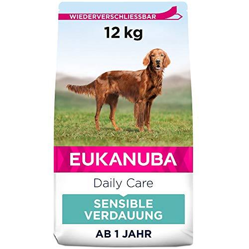 Eukanuba Daily Care Sensitive Digestion Hundefutter - Trockenfutter für Hunde mit sensibler Verdauung, Magenfreundlich mit leicht verdaulichem Reis, 12 kg
