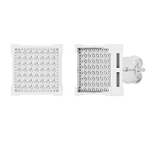 Dazzlingrock Collection 0.25 Carat (ctw) Round White Diamond Square Shape Mens Hip Hop Stud Earring 1/4 CT, Sterling Silver