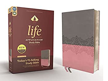 NIV Life Application Study Bible Third Edition Leathersoft Gray/Pink Red Letter