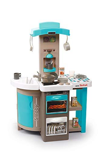 Smoby Tefal Opencook Bubble Spielküche ,klappbar und platzsparend, mit Sound, für Kinder ab 3 Jahren, mit viel Zubehör, blau, grau, weiß