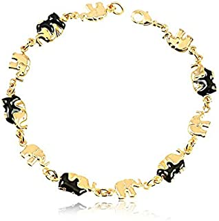 AMA 18k Gold-Plated Bracelet with Black Enameled Elephant - Ladies' Charm Jewelry for Luck, Good Fortune - Hypoallergenic ...