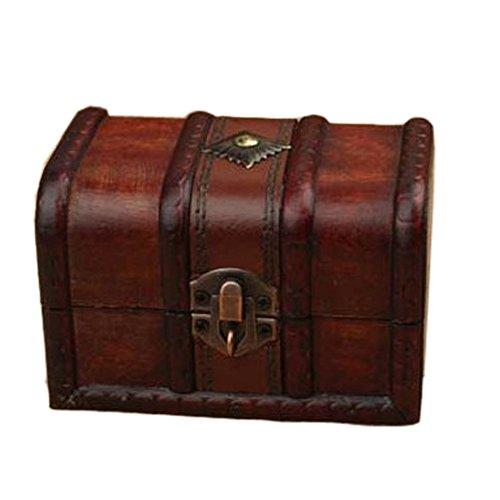 ieasycan Set di 2PC Brown Retro Old Style Lock Scatola di Legno Decorativa contenitori per Oggetti di Valore