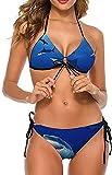 Moda Mujer Sexy Halter Ajustable Bikini Set Trajes de baño de Dos Piezas-Shark Swim Blue Ocean, 2XL