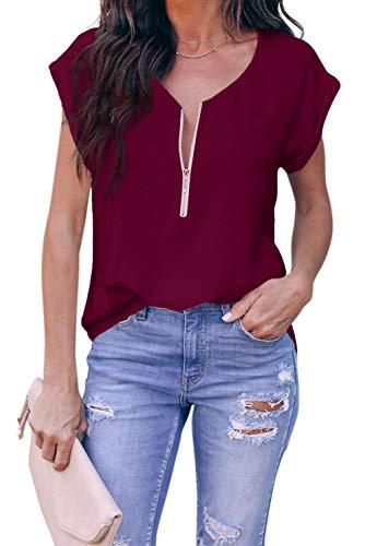 ZIYYOOHY Damen Blusen Tuniken Kurzarm V-Ausschnitt Reißverschluss Tops (Rotwein, M)