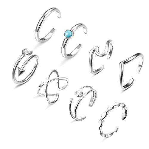Florideco 8Pcs Adjustable Wave Rings for Women Arrow X Criss Cross Ring Celtic Chevron Thumb Ring Open Stackable Knuckle Rings Bands Silver Tone