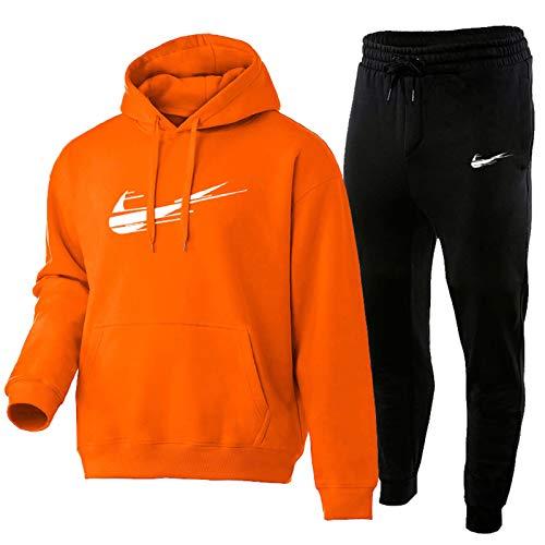 2021 Tuta Uomo Completa - Tuta Uomo Felpa E Pantaloni Tuta Uomo, Abito da Jogging Unisex 2 Pezzi Moda Uomo Puro Cotone Tuta Uomo Felpata S-3xl Orange-L