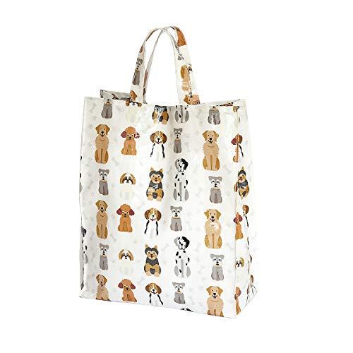 SPOTTED DOG GIFT COMPANY Borsa Shopper Bag, Borsa per le Spese Riutilizzabile 40cm x 32cm x13 cm con Disegno di Cani, idee Regalo Donna e per gli Amanti dei Cane