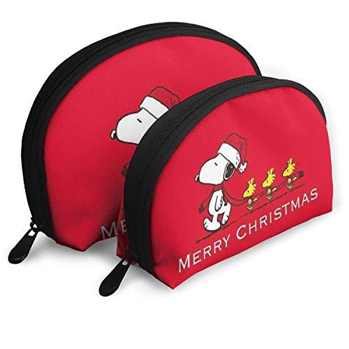 Make-up Bag Frohe Weihnachten von Snoopy Cosmetic Pouch Clutch Tragbare Taschen Handtasche Organizer mit Reißverschluss 2St