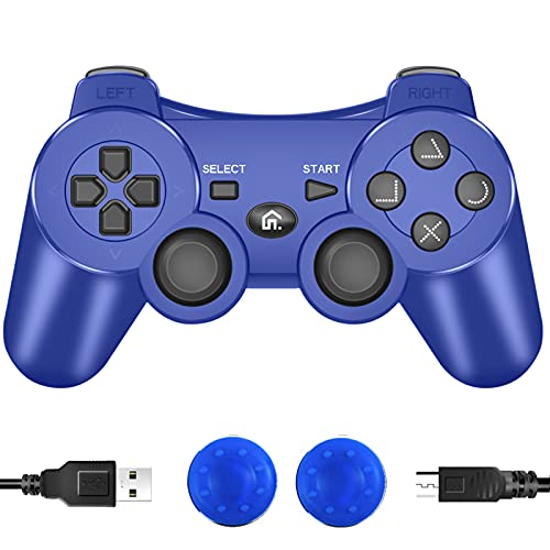 PS3 Controller Wireless, PS3 Controller Gamepad Remote Joystick Compatible with Playstation 3, Double Vibration Controller with Charging Cable(Blue)