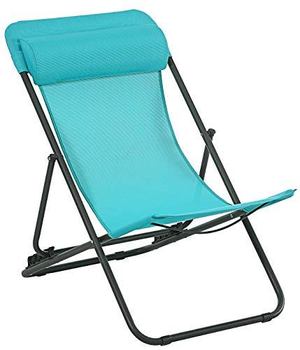 Dehner Camping-Stuhl Ibiza, klappbar,ca. 63 x 11.7 x 0.7 cm, Stahl, pulverbeschichtet, türkis