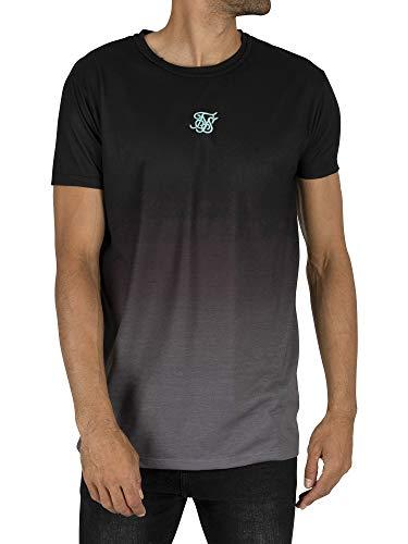Sik Silk Hombre Remera con Cuello Redondo Camiseta, Negro, L