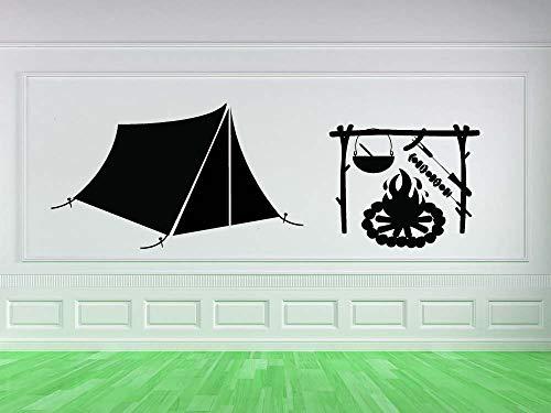 zhuziji Arte Camping Regalos Patrón Diseñado Murales de Pared Cambin Tent Lodge Vinilo Pegatinas de Pared para la Sala de hogar Decoración Especial Calcomanías W54x93.6cm