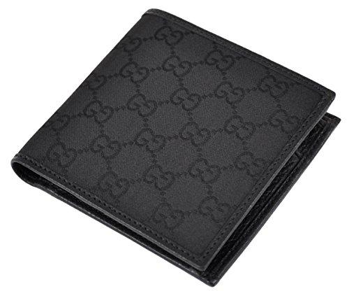 GUCCI 150413 Men's Canvas GG Guccissima Coin Pocket Bifold Wallet Black