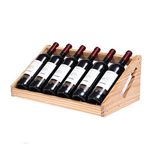 QWERTYUIOP Estante para Vino Botella de Vino para el hogar Estante para Vino Estante Moderno Simple vinoteca Decoraciones Decorativas 6 Botellas de Color Natural 53 * 26 * 20cm