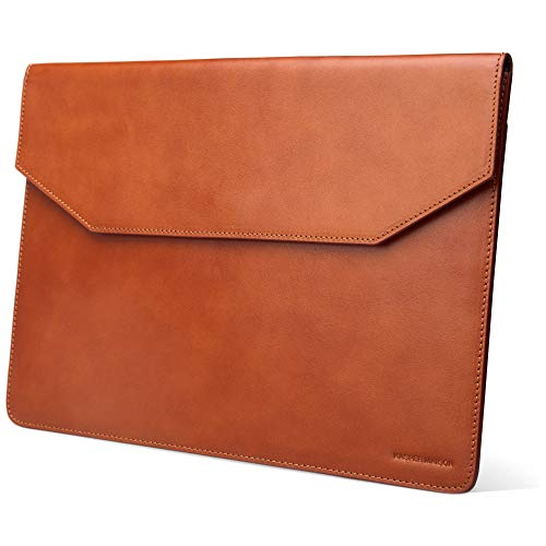 Kasper Maison Premium 15 inch Genuine Leather Laptop Sleeve Case - Compatible with 2016-2020 MacBook Pro 15 inch Sleeve, Microsoft Surface Laptop Sleeve, Surface Laptop 3 Sleeve - Tan