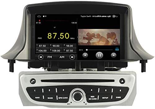 FWZJ Autosion Android 10 Car DVD Player GPS Stereo Head Unit Navi Radio Multimedia WiFi para Renault Megane 3 Fluence 2009 2010 2011 2012 2013 2014 2015 Control del Volante (Plateado)