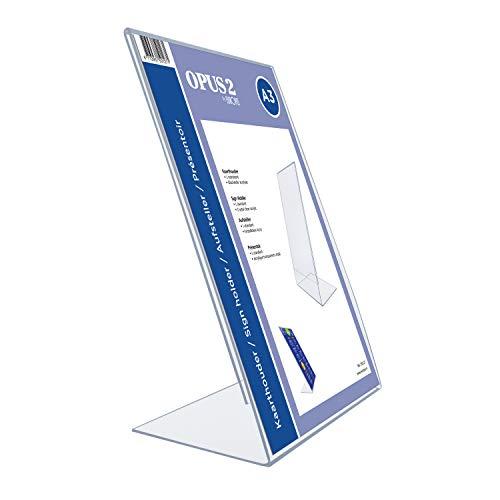 OPUS 2 350127 - Soporte de sobremesa, inclinado, acrilico Transparente, para A3 vertical