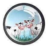 Dos vacas de granja en el pastizal aparador, tiradores de cristal, para guardería, armario, cocina, etc