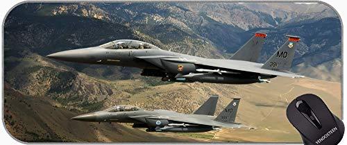 Almohadilla de ratón de Juego con Bordes cosidos, F-15 Eagle Jet Fighter Mouse Pad con Bordes cosidos