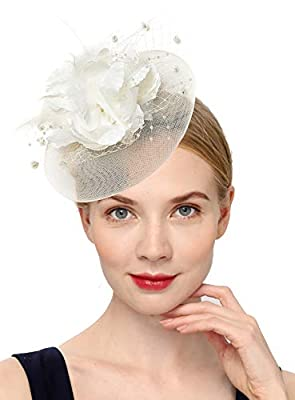 Cizoe Fascinators Headband for Women Tea Party Hat Kentucky Derby Wedding Flower Mesh Feathers Hair Clip
