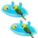 Bagni per Uccelli, 2Pezzi Vasca da Bagno per Uccelli Adatti a Piccoli Uccelli Come Pappagalli e Canarini, Vasca per Pappagalli ha Uno Specchio Regolabile per Attirare l'attenzione degli Uccelli (Blu)