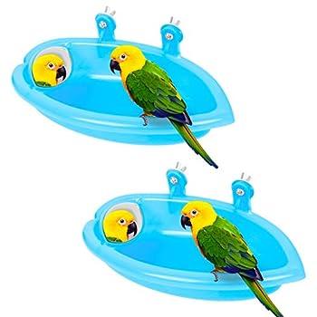 Baignoire pour Oiseaux, 2Pcs Baignoires Perroquet Conviennent aux Petits Oiseaux tels que Perroquets Canaris, Bains d'oiseaux en Plastique a un Miroir Réglable pour Attirer l'attention de l'oiseau