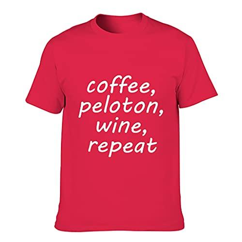 Ouniaodao Hombres Café, Pelotón, Vino, Repetir Camiseta de Algodón - Classic Top Wear