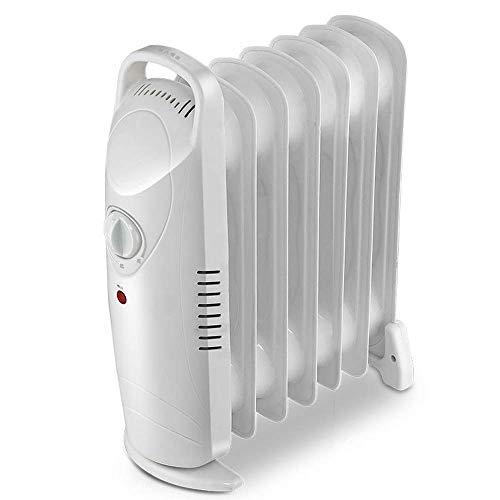 Ventilador de enfriamiento Aceite eléctrica portátiles llenas del radiador, termostato de temperatura ajustable, protección contra sobrecalentamiento, las aletas 7, 700W, blanca Para dormitorio, sala