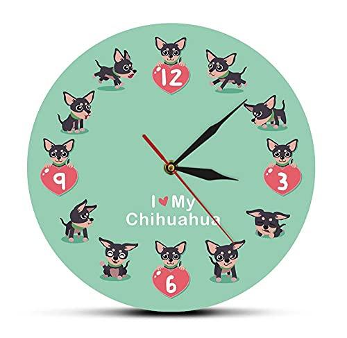 Reloj Mudo Impreso Diseño Moderno Amo mi Reloj de acrílico Animal Perro Decorativo para el...
