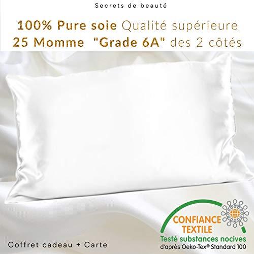 classement un comparer Housse de Coussin 100% Soie de Ver à Soie Naturelle 25 Mum (50 x 75) – Haute Qualité «Classe 6A» – Non…