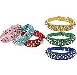 Collar de perro Anit-Bite de piel vegana de tres filas con pinchos azul – rosa- verde – marrón, blanco – azul oscuro – amarillo – tallas pequeñas o medianas (grande, azul claro)