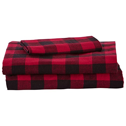 Amazon Brand – Stone & Beam Rustic Buffalo Check Flannel Bed Sheet Set, Twin, Red and Black