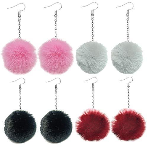 4 Pairs Faux Fur Pom Pom Earrings Set Dangling Earrings Colorful Ball Earrings for Women Girls (4 Set Winter Earrings)