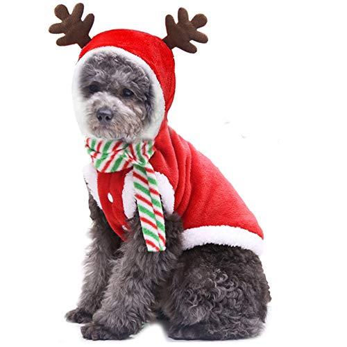 HJFDEW Ropa de Navidad para Perros pequeos para Perros pequeos, Disfraz de Invierno para Cachorros y Gatos, Abrigo de Lana clido para Perros, Chaquetas con Capucha, Ropa para Chihuahua