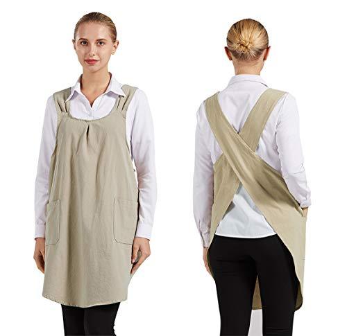 Nanxson Delantal de lino de algodón, delantales de babero con espalda cruzada de color sólido con 2 bolsillos para mujer para Chef Cocina Cocina Jardín CF3105 (Gris) (Beige)
